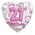 """Kaleid Foil 18"""" 21st Birthday Heart Pink Helium Balloon"""