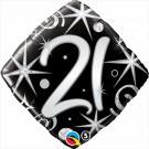 "Qualatex Foil Diamond 18"" 21st Elegant Sparkles & Swirls Helium Balloon"