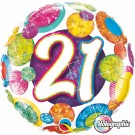 "Qualatex Foil Holographic 18"" 21st Big Dots & Glitz Helium Balloon"