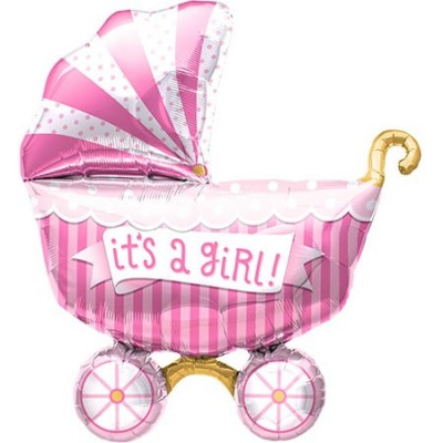 North Star Foil Shape 40inch Its A Girl Buggy