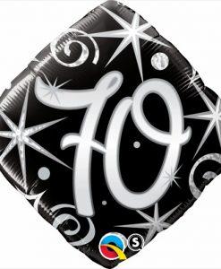 Qualatex Foil Diomand 18inch 70th Elegant Sparkles & Swirls