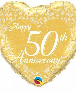 Qualatex Foil Heart 18inch Happy 50th Anniversary