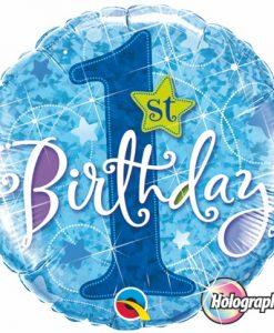 Qualatex Foil Holographic 18inch 1st Birthday Stars Blue