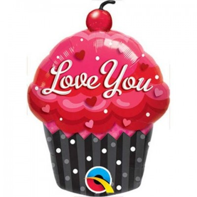 Qualatex Foil Shape 35inch Love You Cupcake