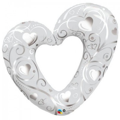 Qualatex Foil Shape 42inch Silver Heart
