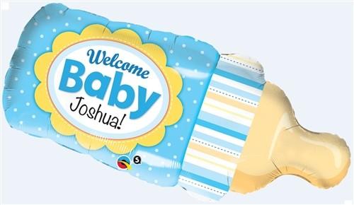 Qualatex Foil Shape Welcome Baby Bottle Blue
