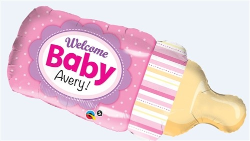 Qualatex Foil Shape Welcome Baby Bottle Pink