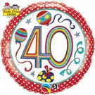 "Qualatex Foil 18"" (Rachel Ellen Design) 40 Birthday Polka Dots & Stripes Helium Balloon"