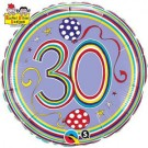 "Qualatex Foil 18"" (Rachel Ellen Design) 30 Birthday Polka Dots & Stripes Helium Balloon"